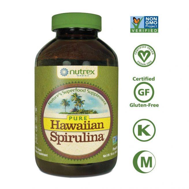 bottle of spirulina powder by Nutrex Hawaii