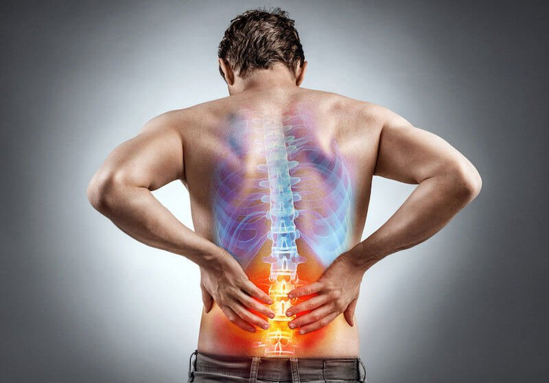 man with back ache, mid back blue with no pain, lower back inflamed red color