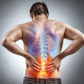 illustration of guy with back pain with illuminated red lower back and blue upper back
