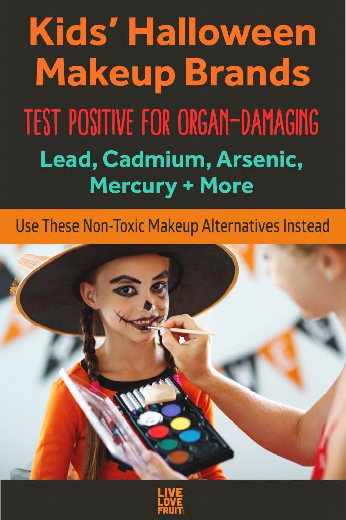 adult woman applying halloween makeup to child dressed as witch with text - Kids' halloween makeup brands test postiive for organ-damaging lead, cadmium, arsenic, mercury + more: Use these non-toxic makeup alternatives instead