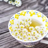 decorated fancy white cup with chamomile tea and chamomile flowers