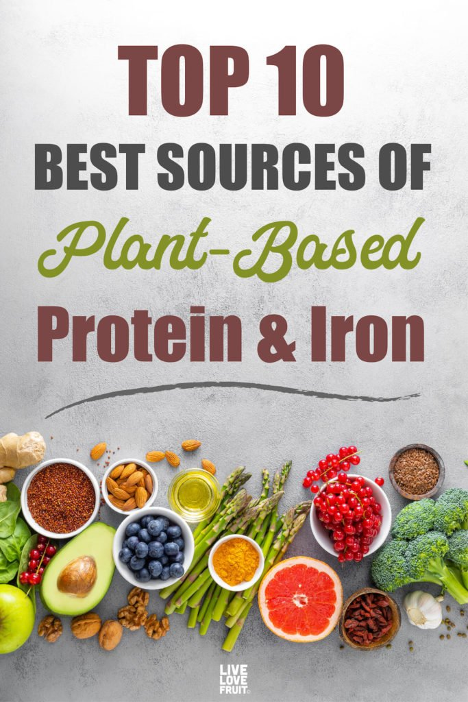 different fruit, vegetables nuts and seeds lined up in a row on a grey marble background with text - top 10 best sources of plant-based protein and iron