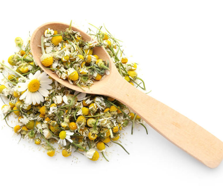 dried chamomile flowers with wooden spoon