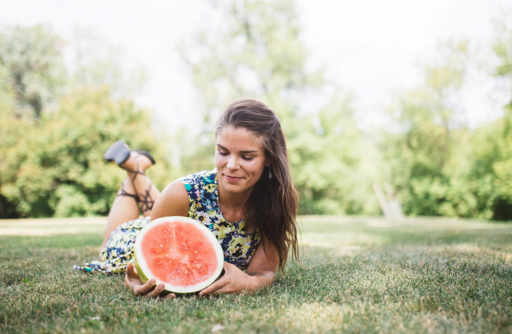 carly fraser with watermelon on grass