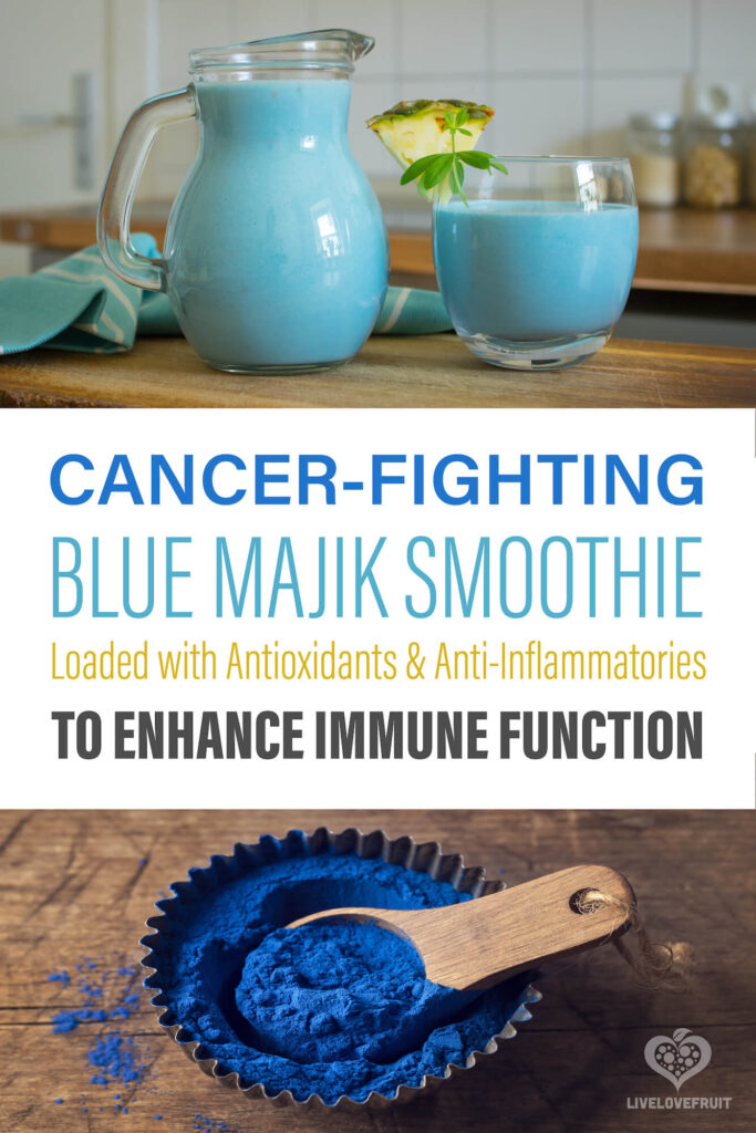 blue spirulina smoothie and blue spirulina powder with text - cancer-fighting blue majik smoothie loaded with antioxidants and anti-inflammatories to enhance immune function