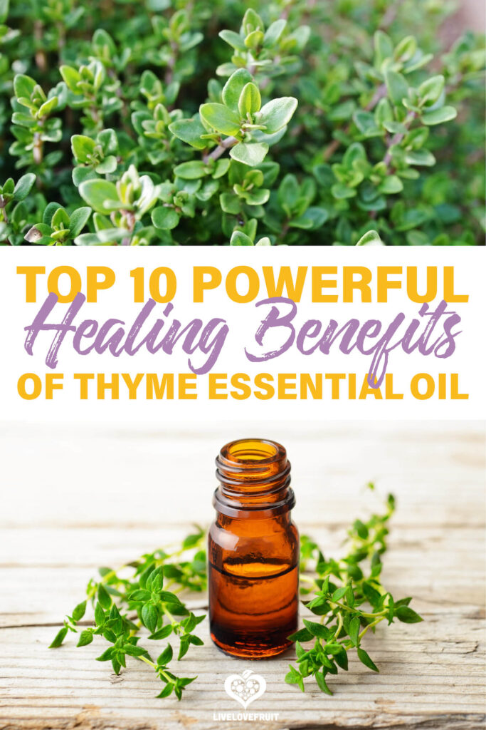 thyme essential oil and thyme herb with text - top 10 powerful healing benefits of thyme essential oil