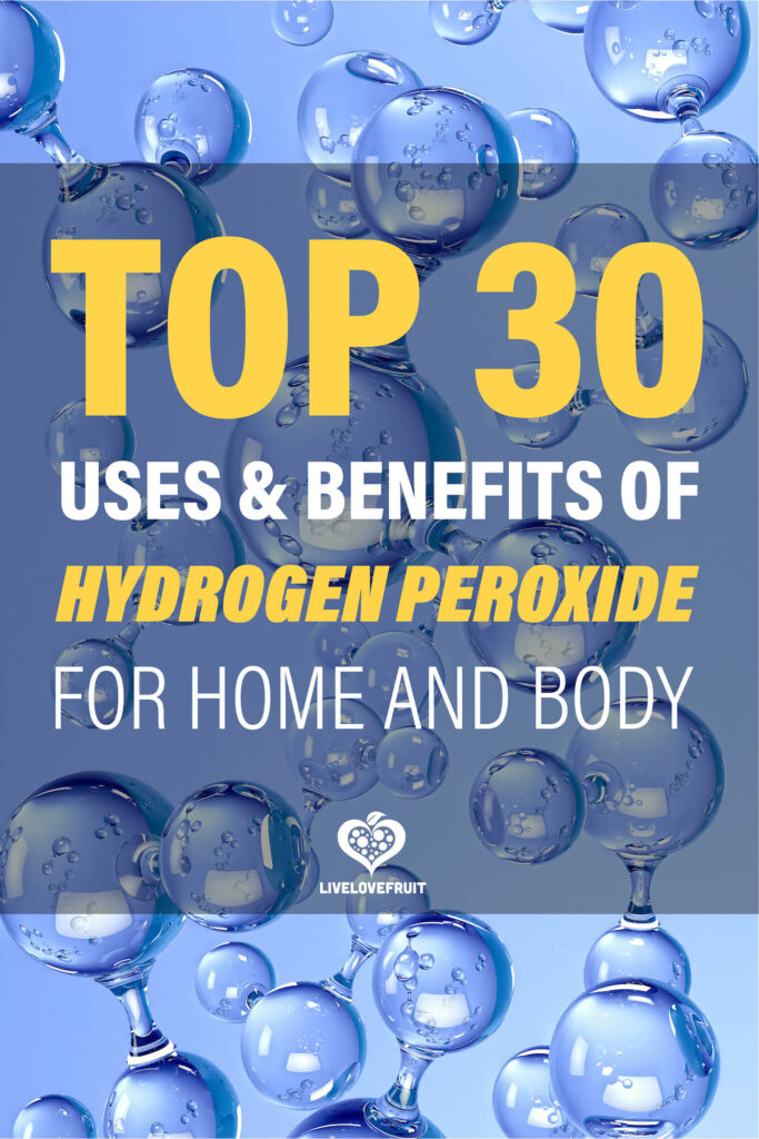 hydrogen molecules 3D with text - top 30 uses and benefits of hydrogen peroxide for home and body