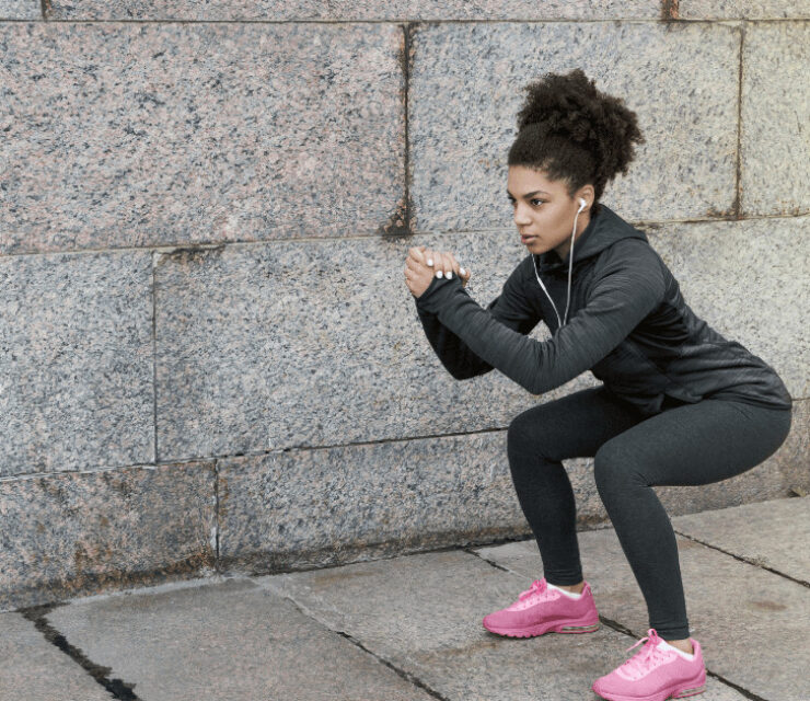 demonstration of how to squat