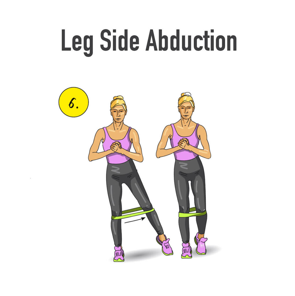 leg side abduction with resistance bands illustrated