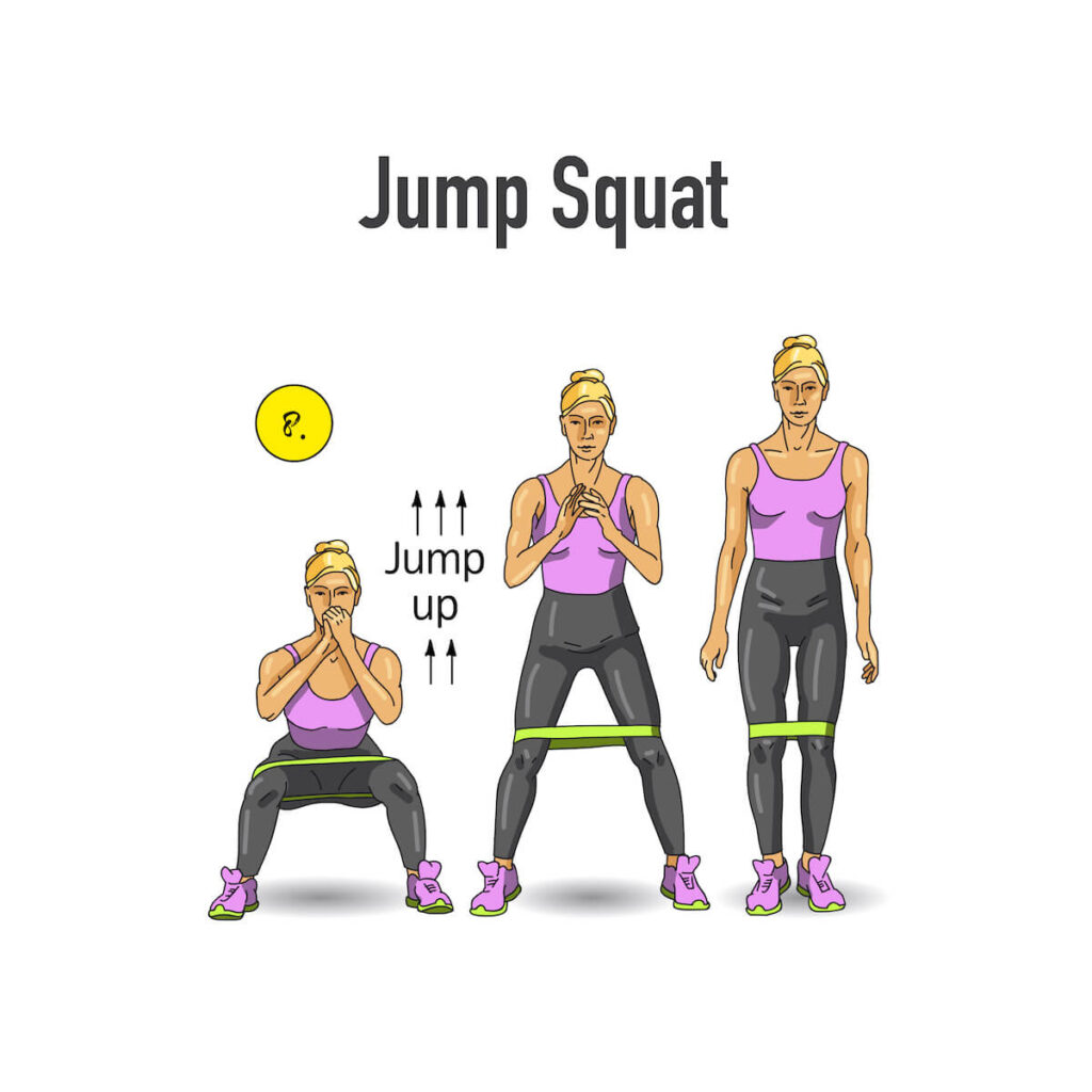 jump squat with resistance bands illustrated