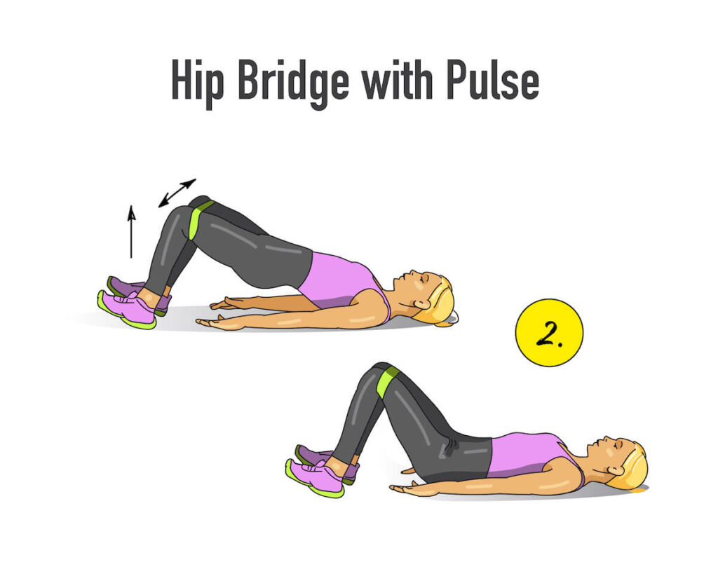 hip bridge with pulse illustrated